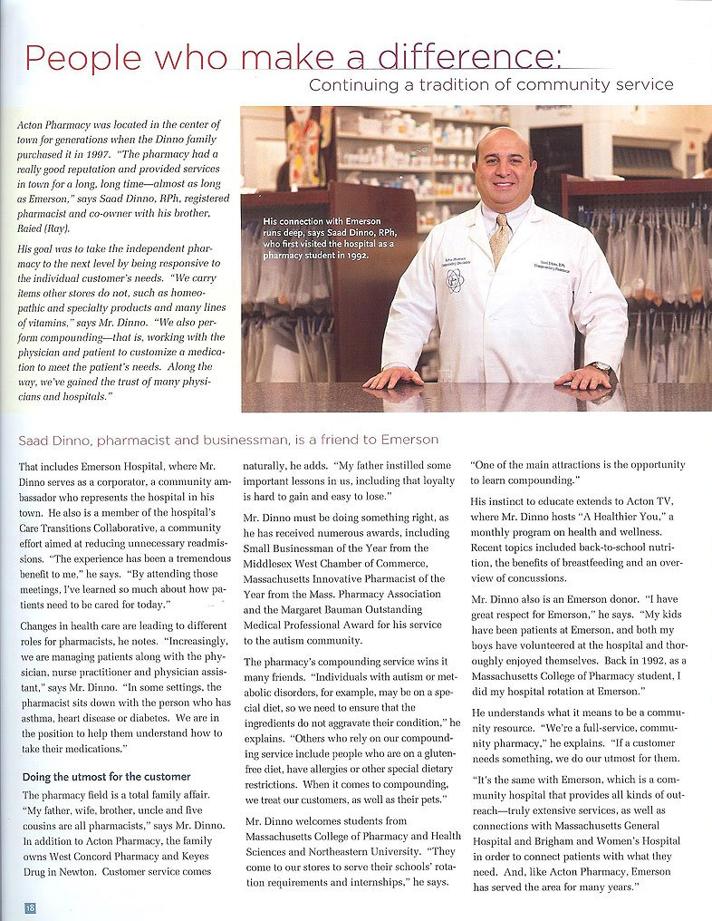 Article published in Emerson Hospital's Healthworks Magazine