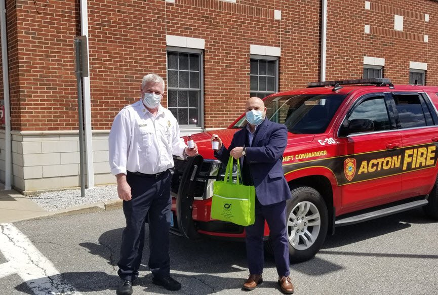 Acton Fire Department received hand sanitizer donation from Acton Pharmacy