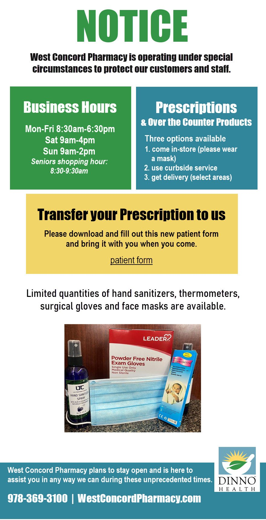 West Concord Pharmacy COVID19 notice