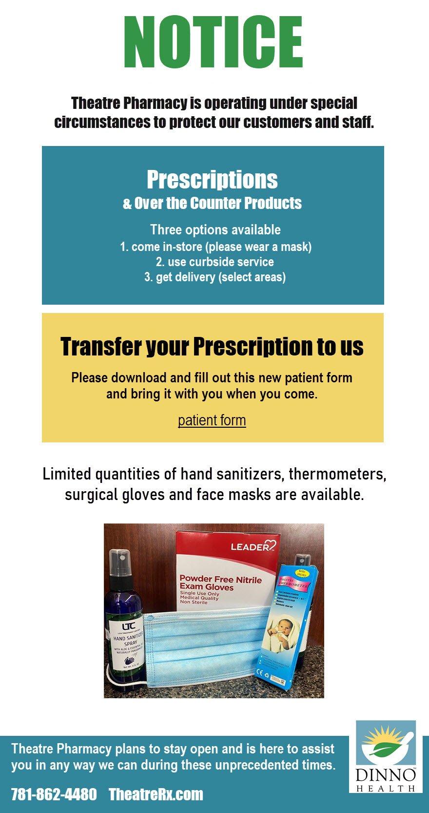 theatre pharmacy covid notice